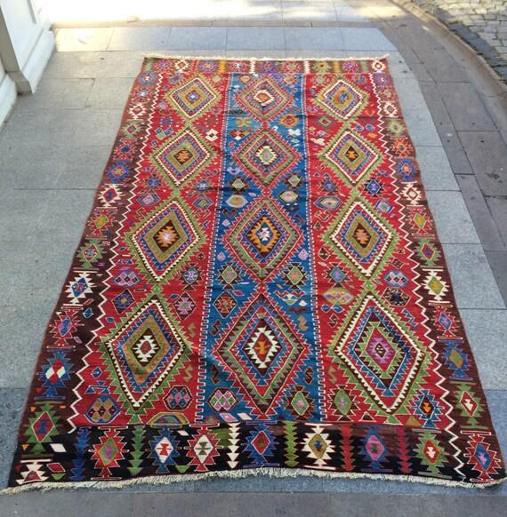 Vintage Tuekish Kilim Rug Traditional Turkish Pattern