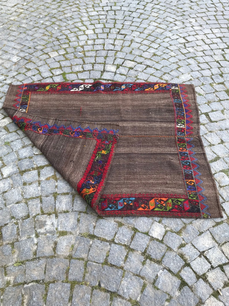 Turkish Kilim Rug,4\u2019x4\u201962feet,124x141cm,Anatolian Turkish Handmade Kilim Rug,