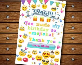 Thank You Card Emoji Invitation ,Thank Card Emoji,Thank You Card
