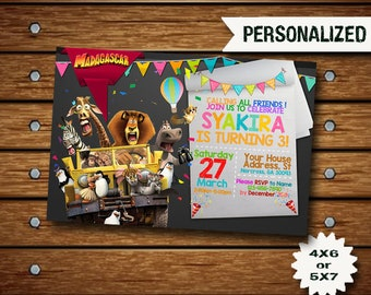 Madagascar Invitation / Madagascar Birthday Invitation / Penguins Of Madagascar / Madagascar Birthday / Madagascar Invite / Madagascar SS