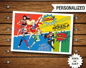 Superhero Invitation / Superhero Girl / Superhero Birthday Invitation / Superhero Party / Superhero Invite / Superhero Birthday Card SS