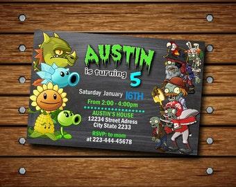 Zombie Invitation / Zombie Birthday Invitation / Zombie Party / Plant vs Zombies / Zombie Birthday / Zombie Printable / Zombie Invite AA/