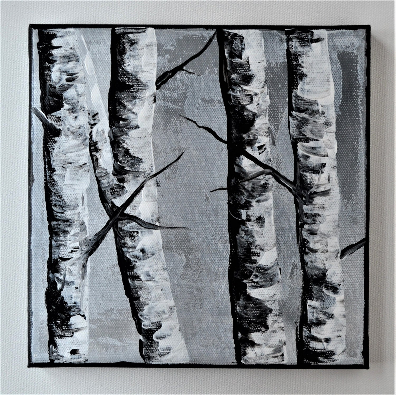 Birch aspen tree branches black and white original abstract small painting four birches