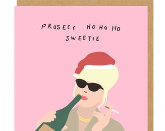 Absolutely Fabulous Prosecco ho ho ho Christmas greeting Card