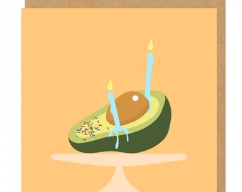 Avocado Sprinkles and candles Birthday Greeting Card