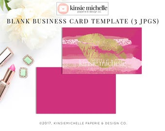 Pink business card etsy pink watercolor lips business card template blank digital download cheaphphosting Image collections