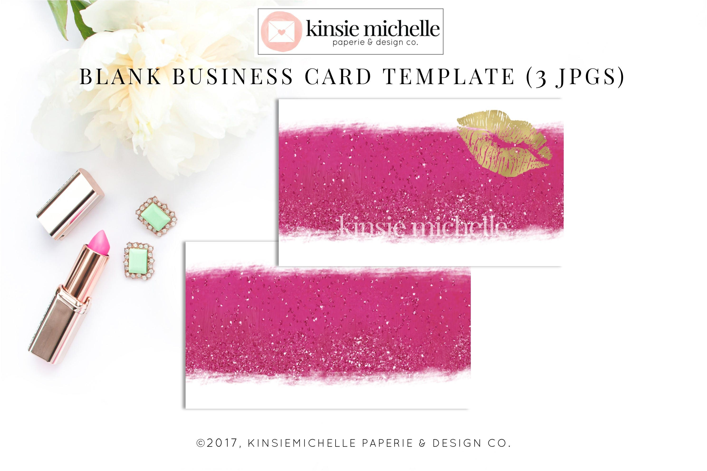 Hot pink glitter gold lips business card template blank etsy zoom colourmoves