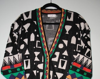 South Western Geo Pattern Multi Color Button Up Cardigan