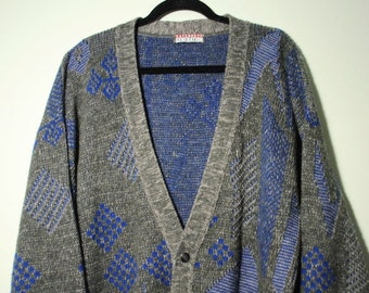 Diamond Print Knit Cardigan