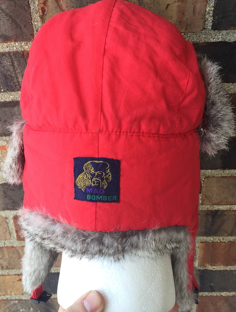 8325e4617 Trapper hat winter rabbit fur mad bomber aviation OSFA red mountain guide  wilderness outdoors hunting camping skiing ice fishing Great Lakes