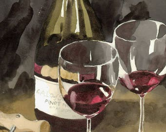 Red Wine Art Print, Wine country painting, Father's Day wine artwork, wine glasses watercolor, wine bottle art, Pinot Noir painting