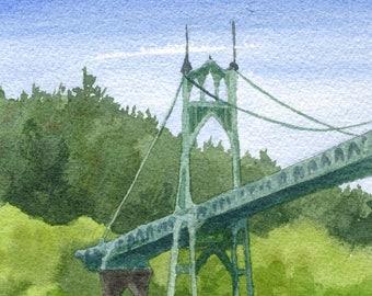 Father's Day Portland Oregon Art Print, St. John's Bridge painting, Portland artwork, Portland bridge watercolor, Oregon wall art