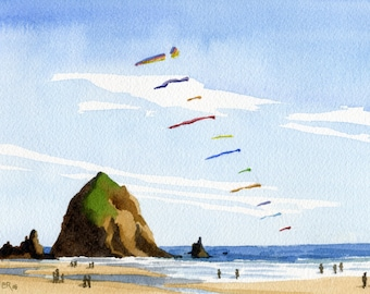Haystack Rock Cannon Beach art print, Oregon watercolor painting, Oregon coast artwork, Father's Day Oregon beach kites wall art