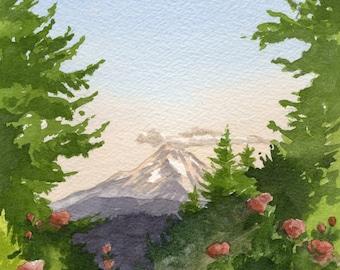 Mt. Hood Art Print, Oregon wall art, Portland Rose Test Garden, Rose City art, Portland Oregon watercolor painting, Mt Hood wall art