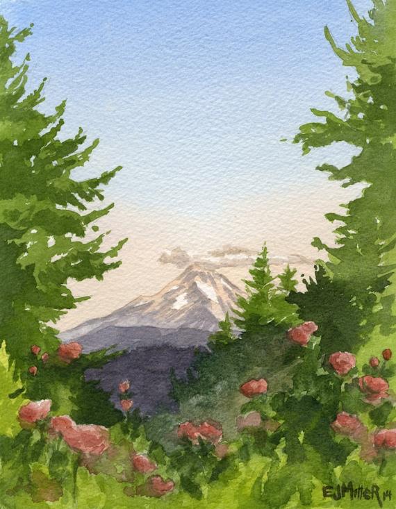 Mt Hood Art Print Oregon Wall Art Portland Rose Garden Art Etsy