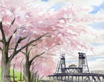 Cherry blossoms art print, Portland Oregon painting, Portland Steel Bridge artwork, pink flowers, Oregon wall art, Oregon watercolor