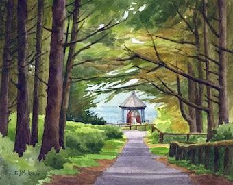 "Oregon coast art print - 8x10"" Cape Meares Lighthouse watercolor painting, Tillamook Oregon lighthouse art, Oregon coast artwork"