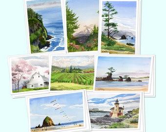 Set of 8 Oregon greeting cards - Oregon coast art print notecards, Oregon watercolor paintings, Cannon Beach ocean artwork, Mt. Hood art