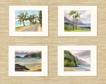 Set of 4 Hawaii art prints: Kauai watercolor paintings, Hawaii wall art, Hawaiian decor, Hawaii beach art