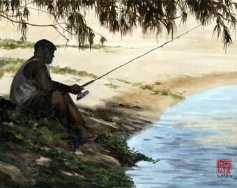 Father's Day fishing art, Hawaii fisherman painting, shoreline fishing wall art, Hawaii beach fishing watercolor