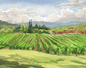 "Oregon Winery Art Print, Oregon wine country painting, 8x10"" Montinore Vineyard artwork, Portland Oregon watercolor, Oregon painting"