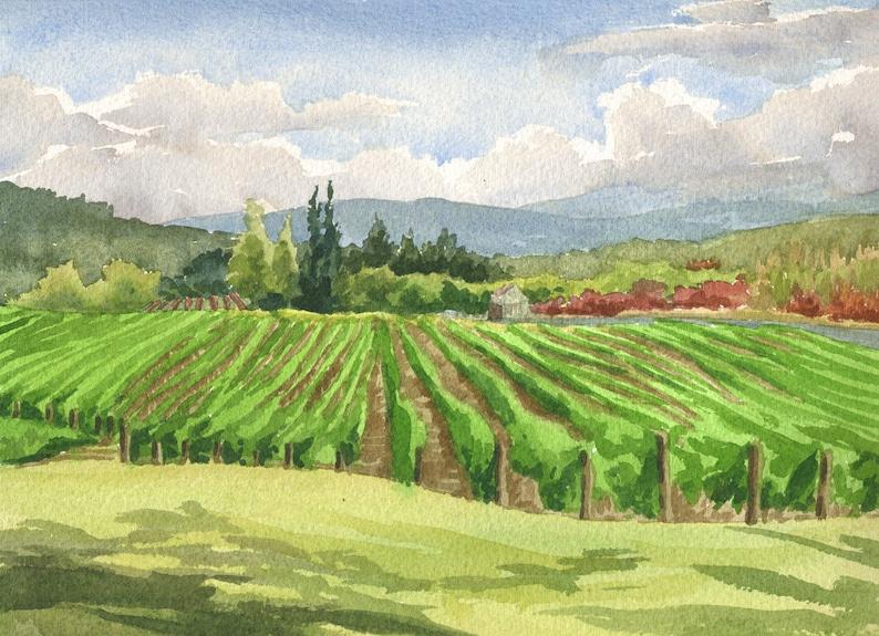 Oregon Winery Art Print Oregon wine country painting Portland Oregon watercolor 8x10 Montinore Vineyard wall art Oregon vineyard art