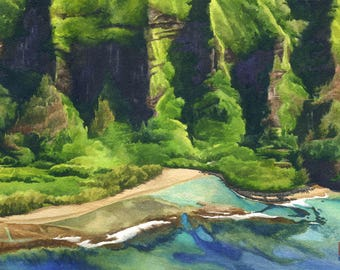 Kee Beach Kauai Art Print - North Shore Kauai wall art, Hawaii beach watercolor painting, Na Pali coast Kauai painting, Hawaii beach art