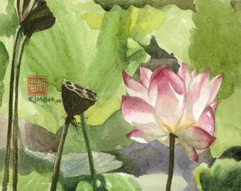 Pink Lotus Flower Art Print : Asian watercolor painting, lotus art, lotus painting, Asian wall art, Easter pink flowers, Mother's Day art