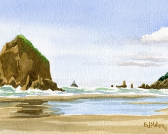 Cannon Beach original painting, Haystack Rock Oregon coast artwork, Oregon beach art, original Oregon watercolor, Oregon coast wall art