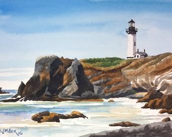 Original Oregon coast lighthouse painting, Yaquina Lighthouse Oregon watercolor art, Newport Oregon lighthouse art, Oregon coast wall art