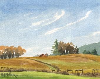 Vineyard Hills original watercolor, Wine country artwork, winery watercolor, Oregon grapevines wall art, autumn harvest painting