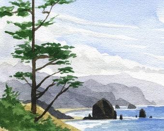Haystack Rock Cannon Beach art print, Oregon coast watercolor painting, Ecola Point Oregon coastal beach decor, Oregon ocean artwork