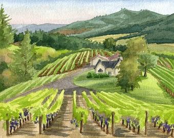 Oregon Vineyard Art Print, Oregon wine country art, Father's Day Oregon Winery artwork, Oregon watercolor, Oregon grapevines painting