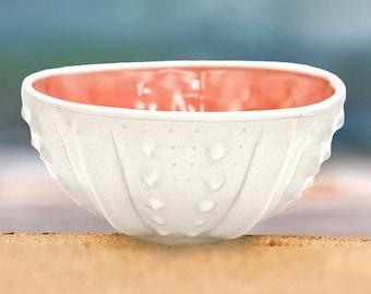 Pink handmade porcelain bowl, ocean ceramics, coastal pottery decor, sea urchin seashell pink bowl, white bowl, noodle bowl, ice cream bowl