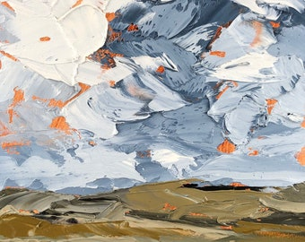 5x7 inch palette knife impasto Pennsylvania country farm blue hills puffy white clouds alla prima oil painting on wood panel ready to hang