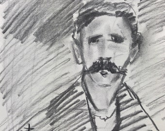 8x10 charcoal portrait study on paper after John Singer Sargent man with mustache