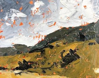 6x6 inch Palette Knife Virginia Hills cloudy blue sky farm field landscape alla prima oil painting on premium cradled birch wood panel