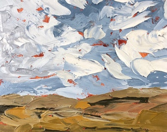 6x6 inch palette knife impasto Pennsylvania country farm blue hills puffy white clouds alla prima oil painting on wood panel ready to hang