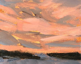 4x6 inch Syracuse winter sunset nocturne landscape alla prima oil painting on premium archival cradled birch wood panel
