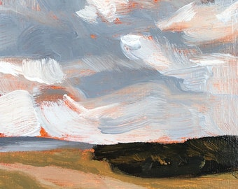 4x6 inch Rotterdam Netherlands cloudy sky clouds landscape oil painting on premium archival double primed cradled birch wood panel