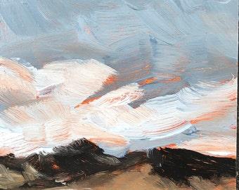 4x6 inch  cloudy blue sky farm field landscape alla prima oil painting on premium archival cradled birch wood panel