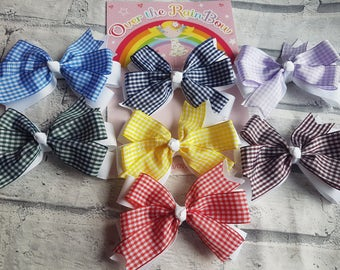 School Gingham Bows, Hair Clips, Hair Bows, Gingham Bows