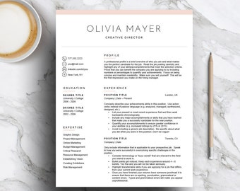 Creative resume template for Word & Pages (1, 2, 3 page cv template, cover letter) Pink resume template | Mac and PC | Instant Download