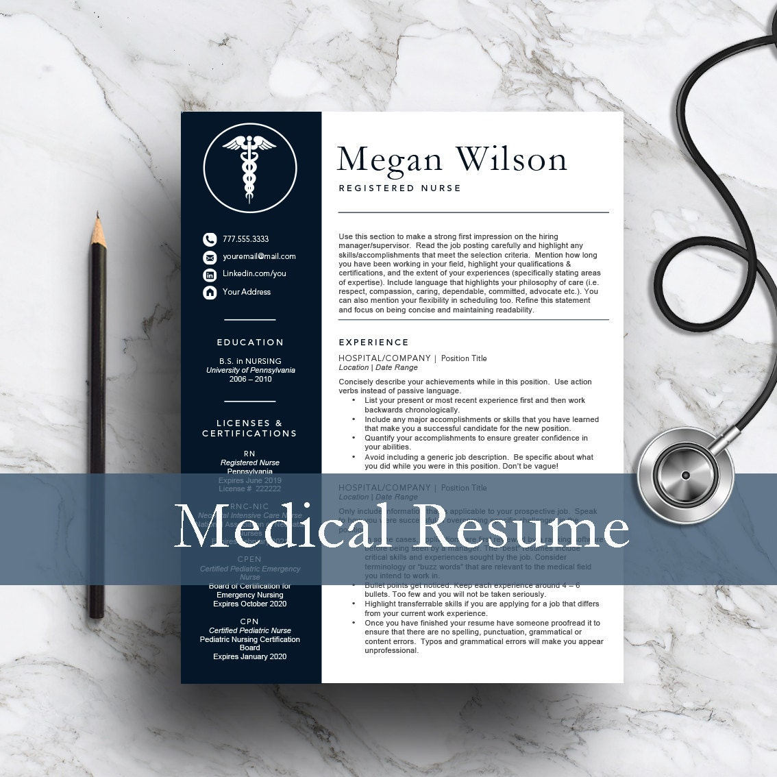 Nurse Resume Template For Word Pages 1 And 2 Page Resume Etsy