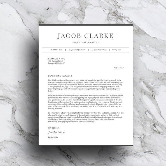 classic resume template for word pages 1 and 2 page resume etsy