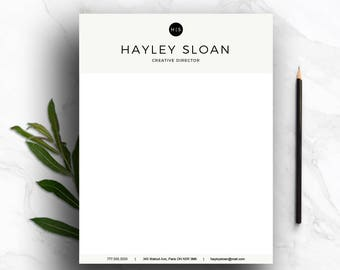 Stationary for Word & Pages (A4 and US Letter) | gray personalized letterhead | letterhead template | business template | instant download