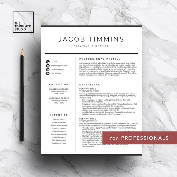 professional resume template for word pages curriculum etsy