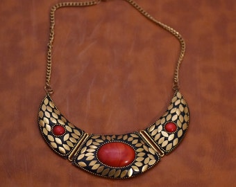 Gorgeous Handmade Vintage Native Turkish  Necklace With Red Stone