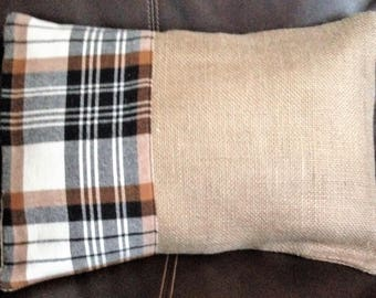 Burlap & Flannel Plaid Pillow Cover