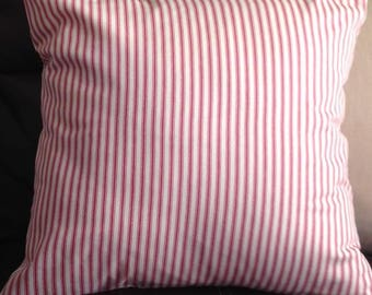Red & Ivory Ticking Pillow Cover